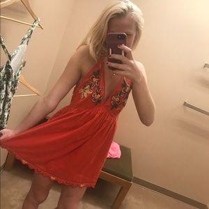 FREE PEOPLE Orange floral mini dress